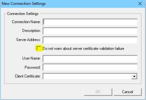 Do Not Warn about Server Certificate Validation Issues
